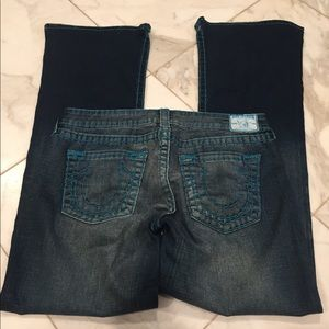 True Religion blue denim turquoise stitch pants